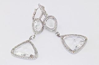 white topaz 18k white gold .66ct total weight diamond earrings