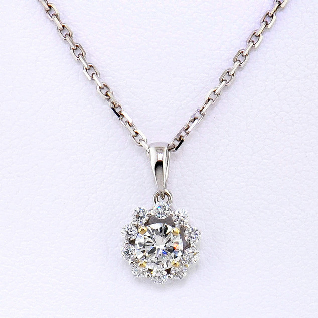 18k white gold .47ct total weight diamond pendant