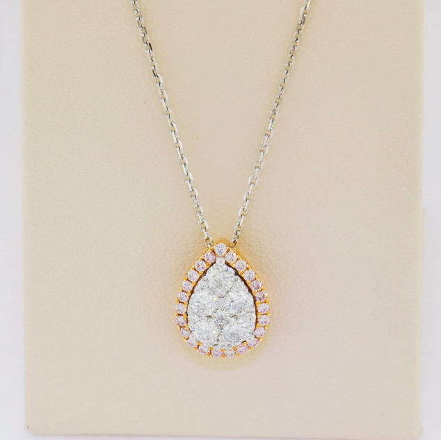 18k two-tone gold, white and rose gold, .18ct pink diamonds and .57ct total weight diamond pendant