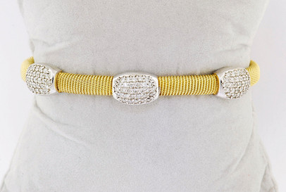 14k two-tone, yellow and white gold 1.40ct total weight diamond bangle bracelet