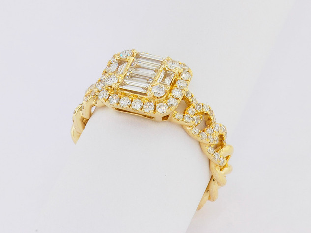 14k yellow gold, .87ct total weight, baguette and round diamonds, micro pavé and prong set