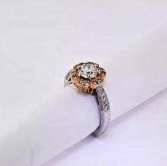 14k white gold, .50ct setting, 1.03ct center stone round diamond engagement ring