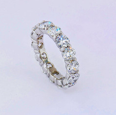 platinum, 5.72ct total weight g-vs round, eternity band, common prong