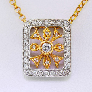 18k two tone, rose and white gold .32ct total weight, diamond necklace