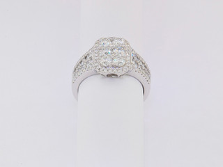 18k white gold, 1.77ct total weight, micro pavé and invisible set, round diamonds