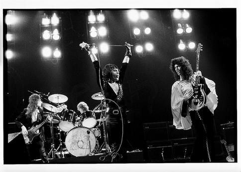 "Queen Rainbow Theatre London 1974 © Mick Rock  11""x14"" $1,200 USD (limited edition of 90)  16""x20"" $2,000 USD (limited edition of 90)  20""x24"" $2,500 USD (limited edition of 50)  24""x30"" $4,000 USD (limited edition of 35)  30""x40"" $7,000 USD (limited edition of 25)  40""x60"" $12,000 USD (limited edition of 10)"