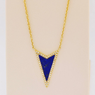 14k yellow gold, .41ct lapis, 12ct total weight micro pavé diamond necklace.