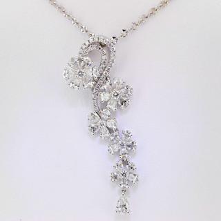 18k white gold 3.65ct total weight diamond flower waterfall pendant