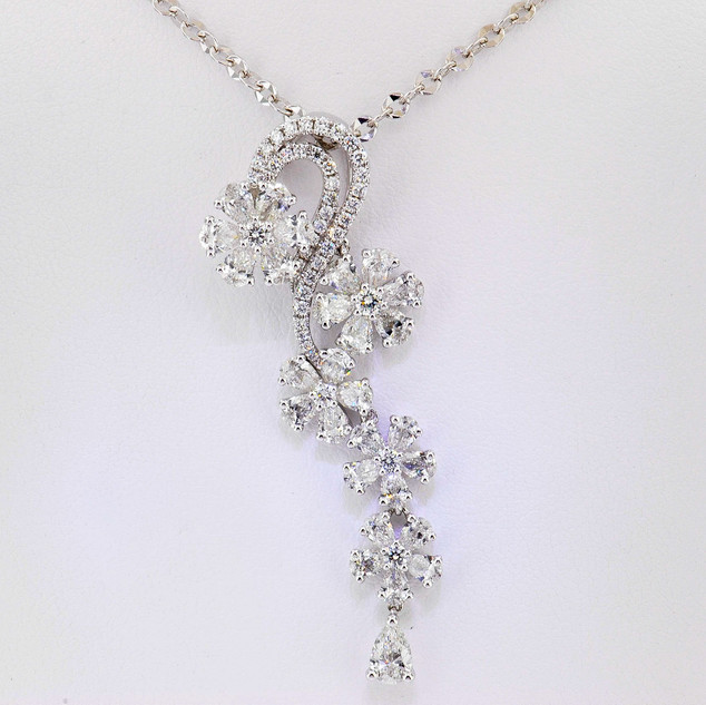 18k white gold 3.65ct total weight diamond flower waterfall pendant