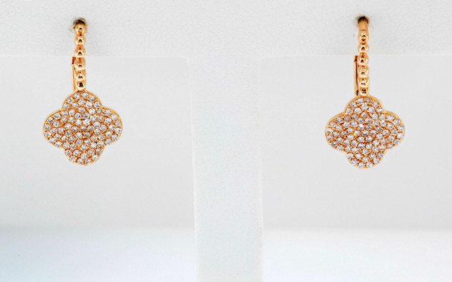 14k rose gold .34ct total weight, diamond earrings