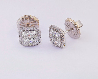 18k white gold 1.24ct total weight diamond cluster studs with diamond halo