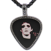 Lou Reed of The Velvet Underground - Photograph Transformer Album Cover London 1972 © Mick Rock, .60ct black diamonds set in 14k white gold, photo laser etched in sterling silver