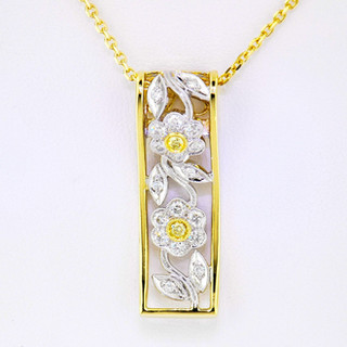 18k two tone, yellow and white gold .58ct total weight diamond and fancy yellow diamond necklace