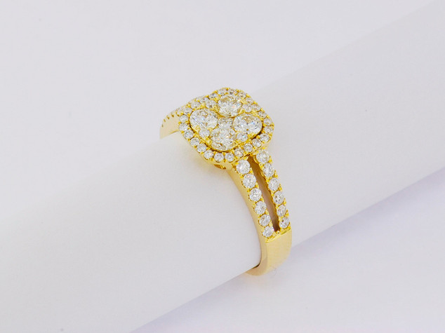 18k yellow gold, .92ct total weight, micro pavé, prong set, and invisible set, round diamonds