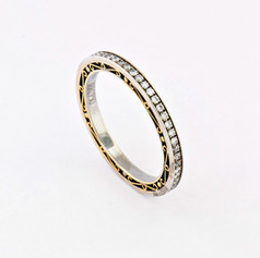 Platinum and 18k yellow gold, .40ct total weight round diamonds, antique yellow gold, handmade