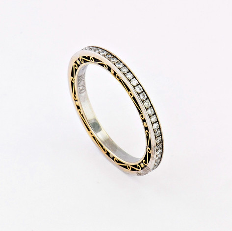 Platinum and 18k yellow gold, .40ct total weight round diamonds, antique yellow gold, handmade