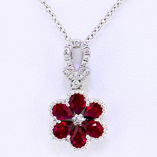 18k white gold .07ct diamond total weight, .63ct ruby total weight, pendant