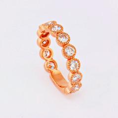 14k rose gold, 1.43ct total weight, milgrain bezel diamond eternity ring
