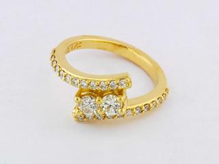 14k yellow gold 1.18ct total weight diamond ring