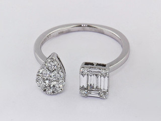 18k white gold .56ct total weight diamond multi shape ring