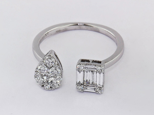 18k white gold .56ct total weight diamond multi shape ring