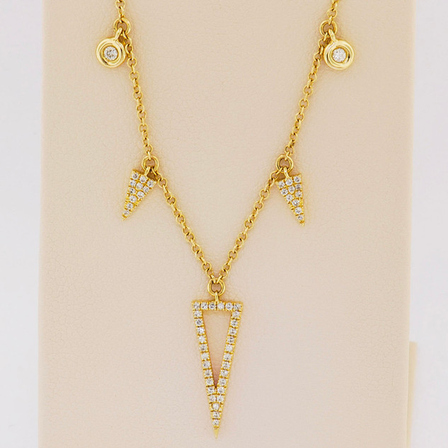 14k yellow gold, .20ct total weight round micro pavé, bezel set stones necklace