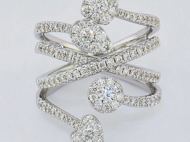 14k white gold 1.32ct total weight diamond multi shape ring
