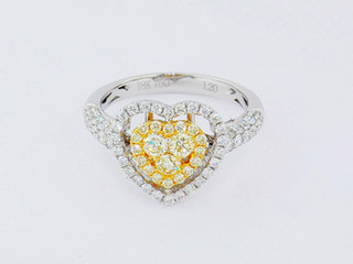 18k, two-tone white and yellow gold, 1.20ct total weight, yellow and colorless diamonds, micro pavé and invisible set diamonds