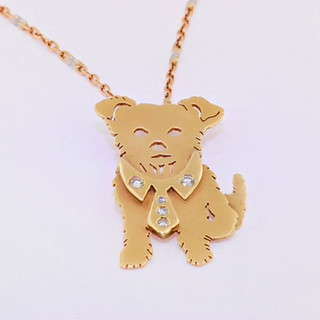 14k yellow gold diamond pet necklace