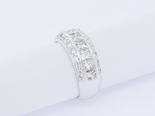 18k white gold, 2ct total weight, round diamonds and princess cut diamonds, miligrain edges, channel and pavé setting