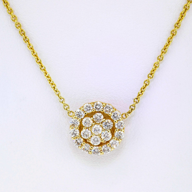 14k yellow .63ct total weight, diamond pendant