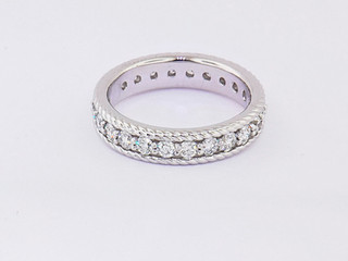 14k white gold 1.33ct total weight diamond eternity, braided band