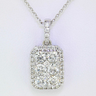 18k white gold 1.06ct total weight diamond pendant