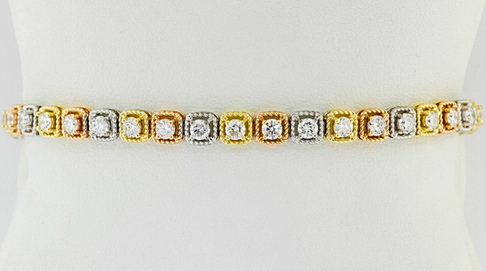 14k tri-color gold, 3.34ct total weight diamond tennis bracelet