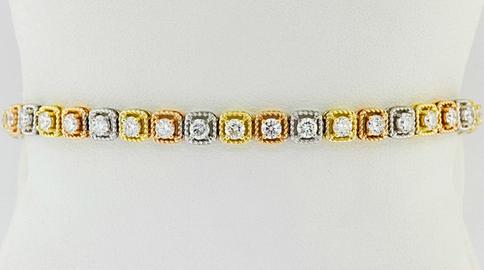 14k tri-color gold, 3.34ct total weight diamond tennis bracelet