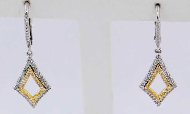 14k two-tone, white and yellow gold .38ct total weight diamond earrings
