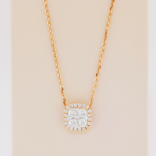 18k roes gold, .42ct total weight diamond necklace