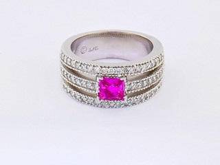 14k white gold .54ct total weight diamond ring with pink sapphire center stone