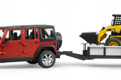 Jeep Wrangler with Trailer & Skidsteer (Bruder)