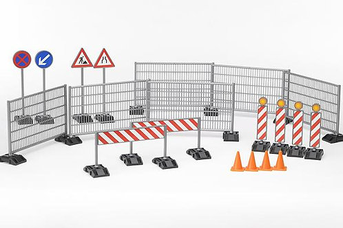 Bruder Construction Set with Signs, Railings & Pylons