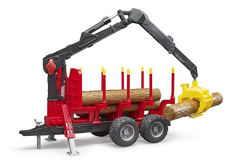 Forestry trailer with loading crane and grab