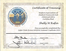 Western Association of Student Financial Aid Cert - Shelly Rufin