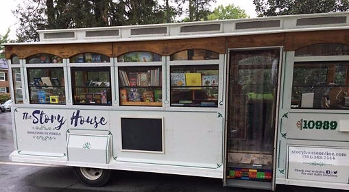 The Story House Trolley brings high quality books to school & non-profits book fairs.