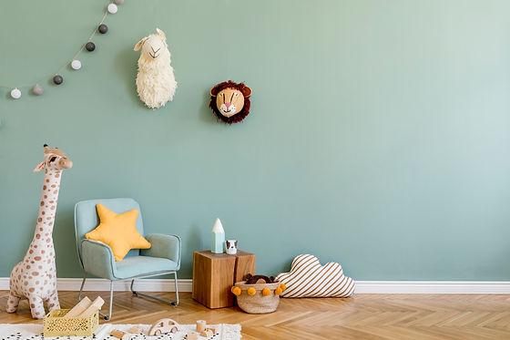 Stylish scandinavian kid room with toys,