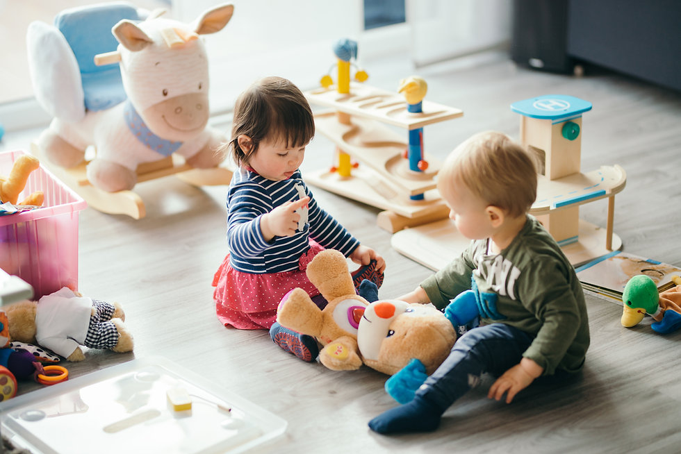 cute little girl and boy playing with toys by the home.jpg