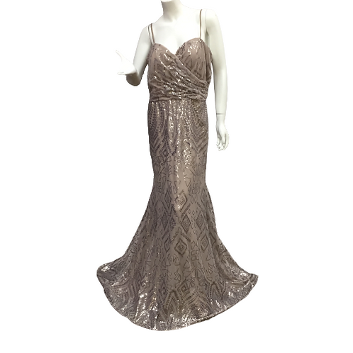 Morilee  Taupe Shinny Gown Size 14