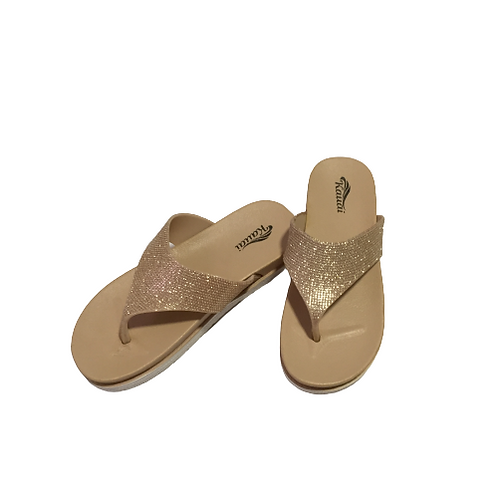 Kauai Gold Sparkling Slippers Size 36