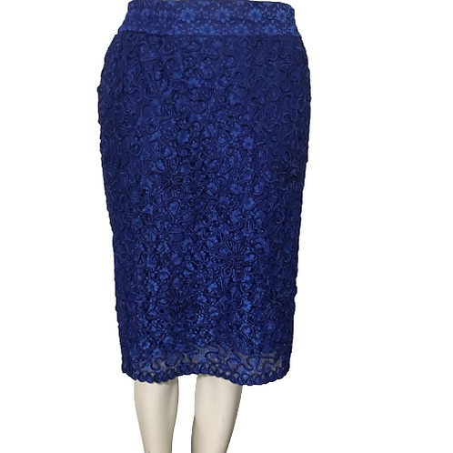 Blue Lace Pattern Skirt Size M-L