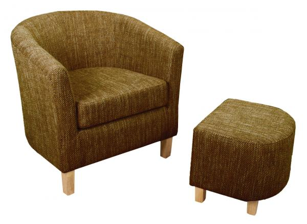 Dark Brown Tweed Tub Chair Set