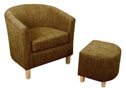 Dark Brown Tweed Tub Chair Set
